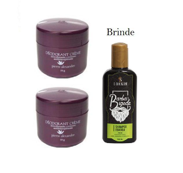 KIT 2 Und Desodorante Pierre Alexander Creme Antitranspirante + Shampoo Lorkin