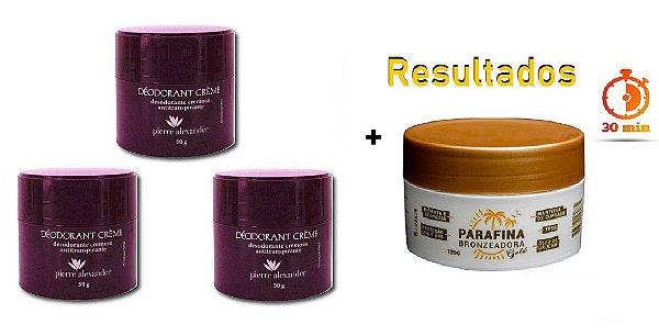 KIT 3 Und Desodorante Pierre Alexander Creme Antitranspirante + Parafina Lorkin