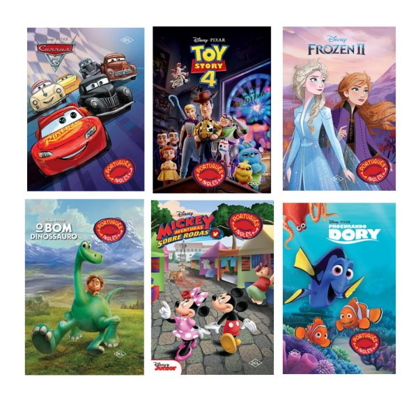 Kit Completo- 6 Livros Bilíngues Disney - frete grátis