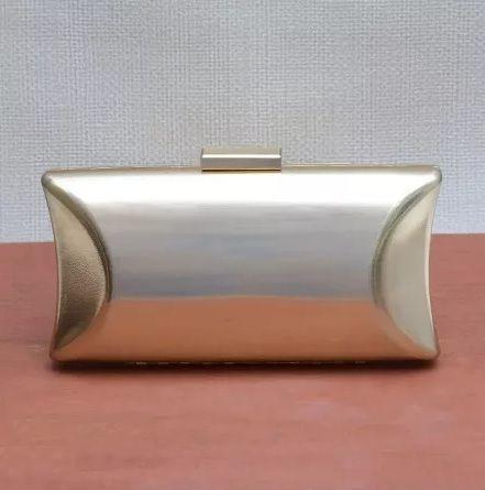 Bolsa Clutch Dourada Metalizada Retangular