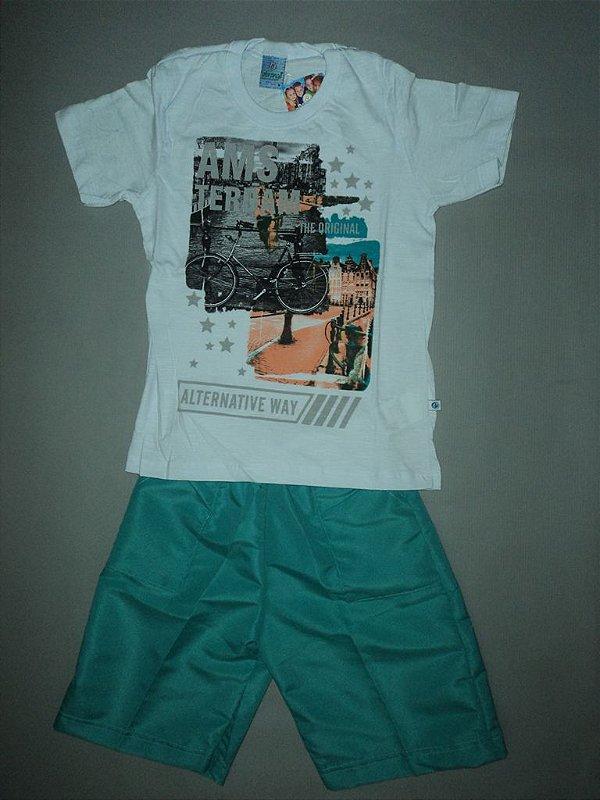 Conjunto Infantil Masculino Camiseta e Bermuda lisa Abrange