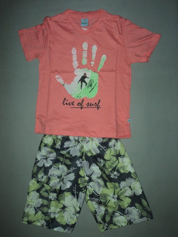 Conjunto Infantil Masculino Abrange Camiseta e Bermuda Dusi Grey