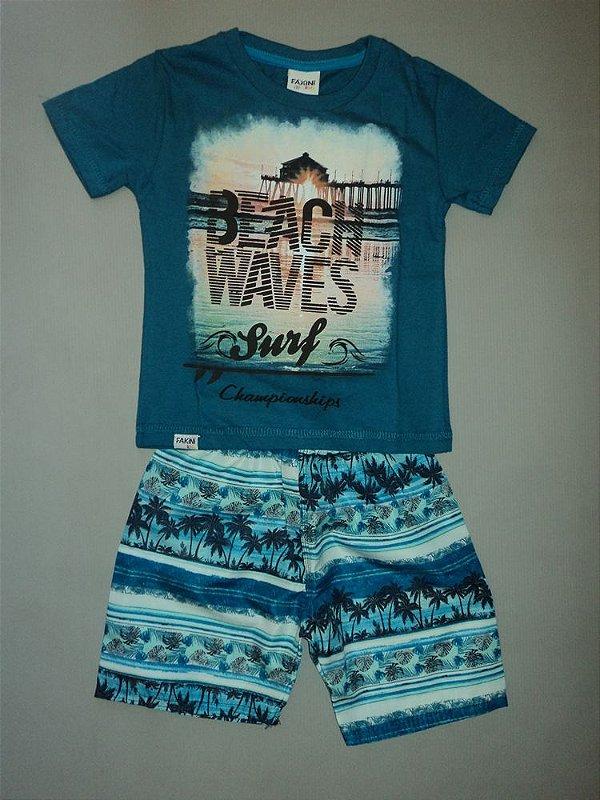 Conjunto Blue Surf Camiseta e Bermuda Fakini