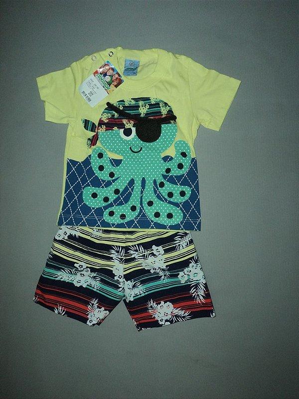 Conjunto Infantil Diversão Camisa Polvo e Bermuda Abrange