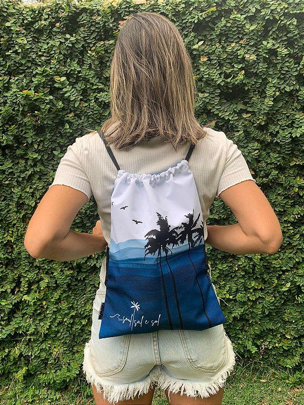 Bag/ Sacochila Azul Coqueiros