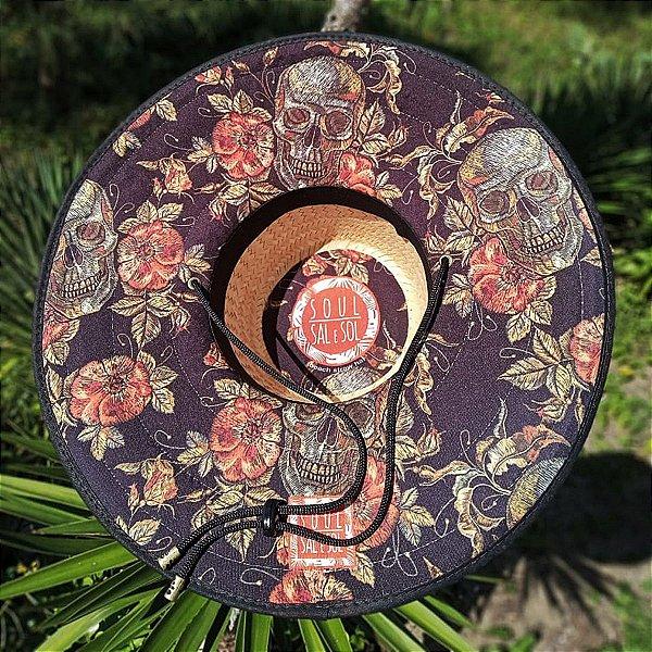 Chapéu de Palha - Caveira Rosas