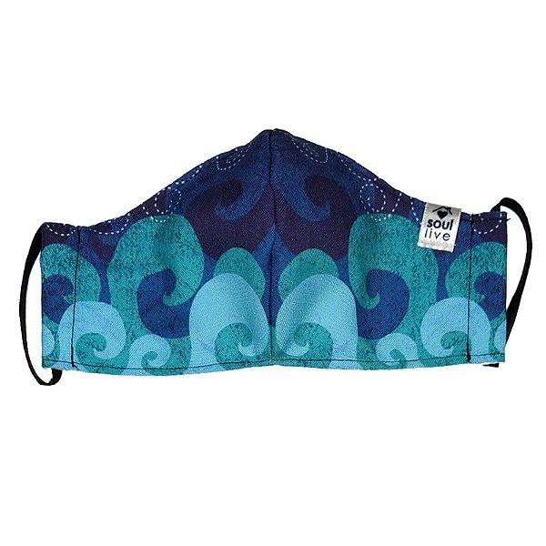 Máscara de Proteção - Ondas Azuis