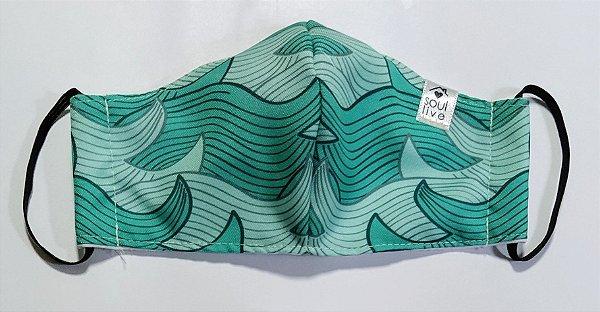 Máscara de Proteção - Ondas verde