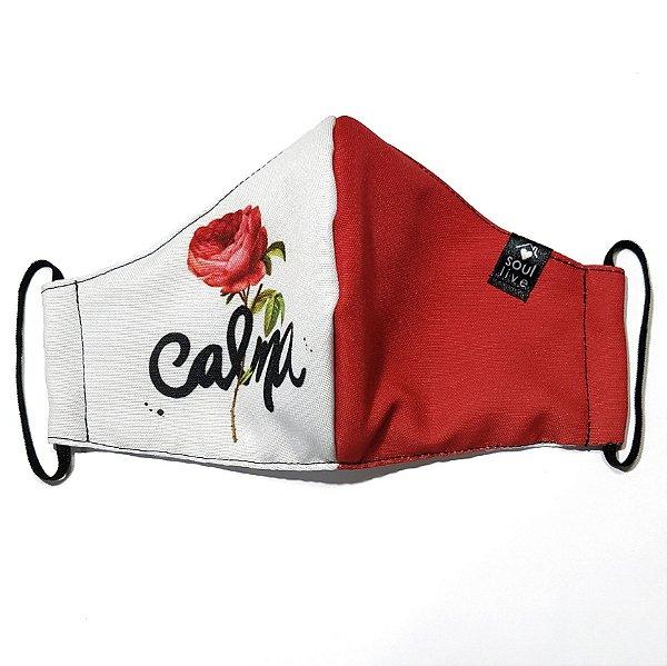 Máscara de Proteção - Calma com Rosa Vermelha
