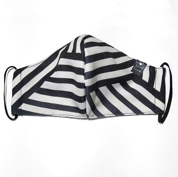 Máscara de Proteção - Listras Preto e Branca