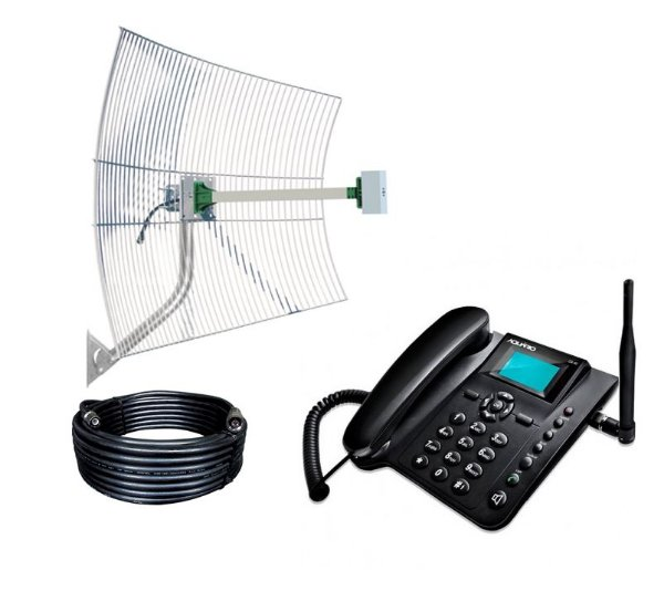 Kit  Antena de Grade 22dbi + Telefone Celular Rural