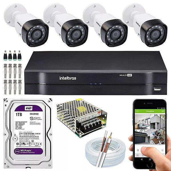 Kit Completo 4 Cameras Segurança