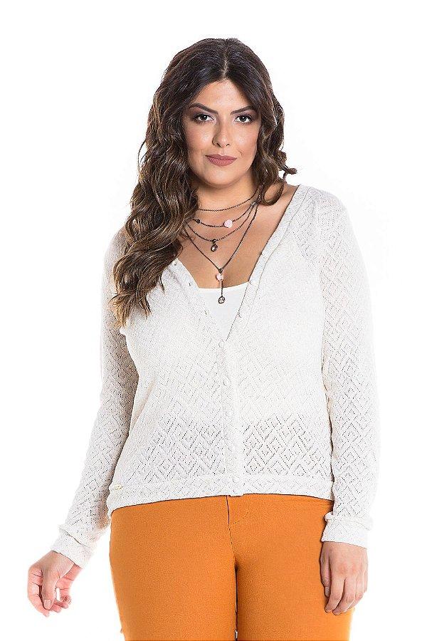 Cardigan Plus Size de Trico Floca com Botão e Punho