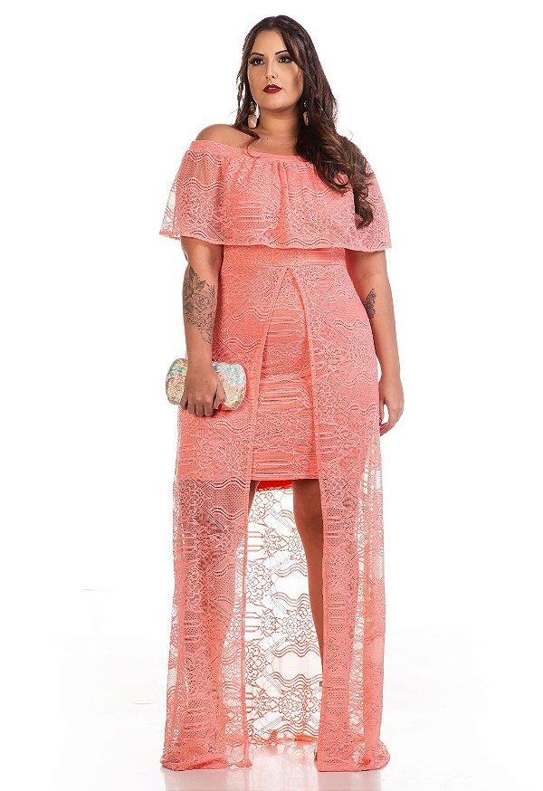 Vestido de Festa Plus Size Longo de Renda com Fenda 6325