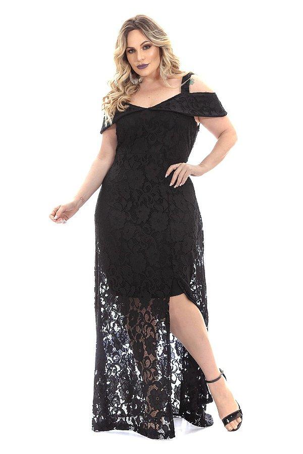 Vestido de Festa Plus Size com alça larga Ciganinha de Renda 6285