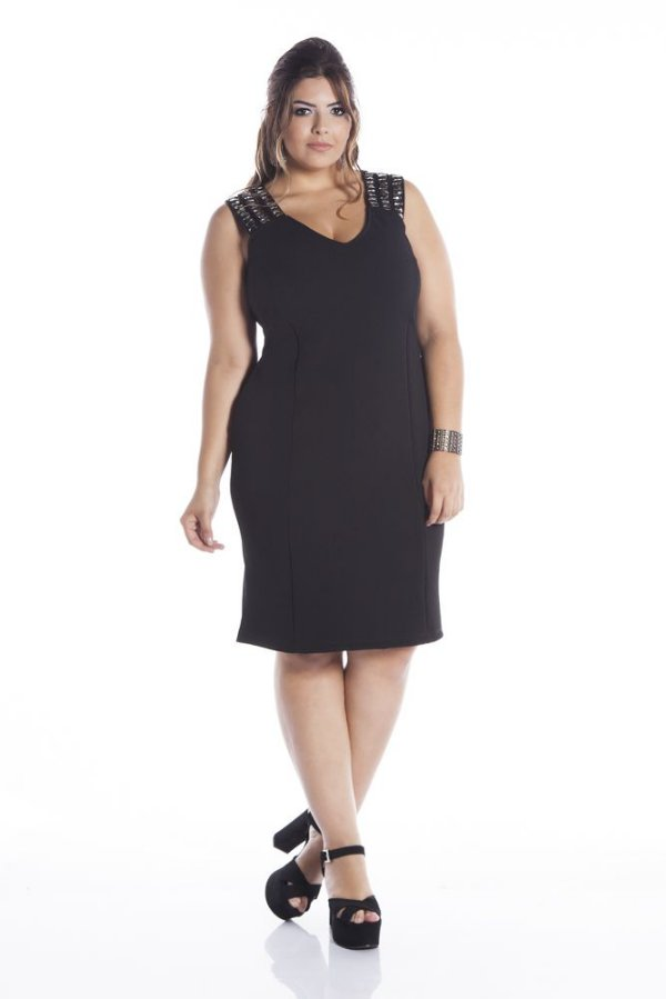 Vestido de Festa Plus Size Jacard com Elastano Alça Tripla 5360