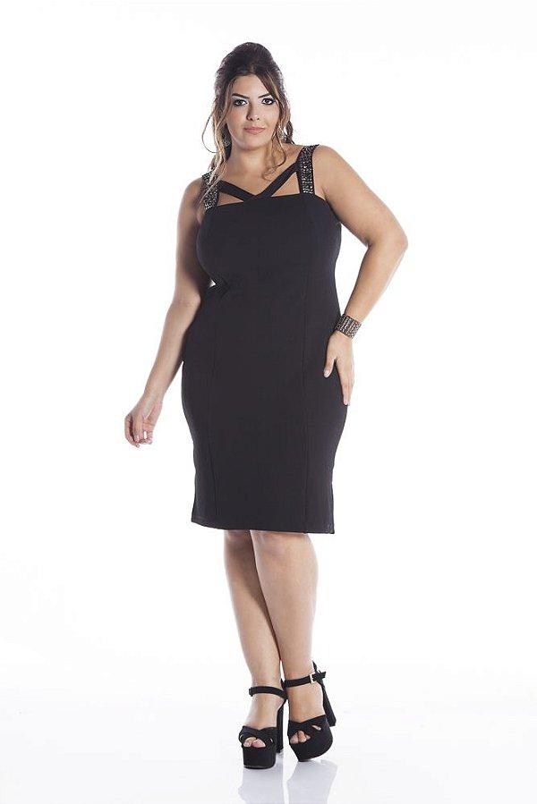 Vestido de Festa Plus Size Jacard com Elastano Alça com Bordado 5381