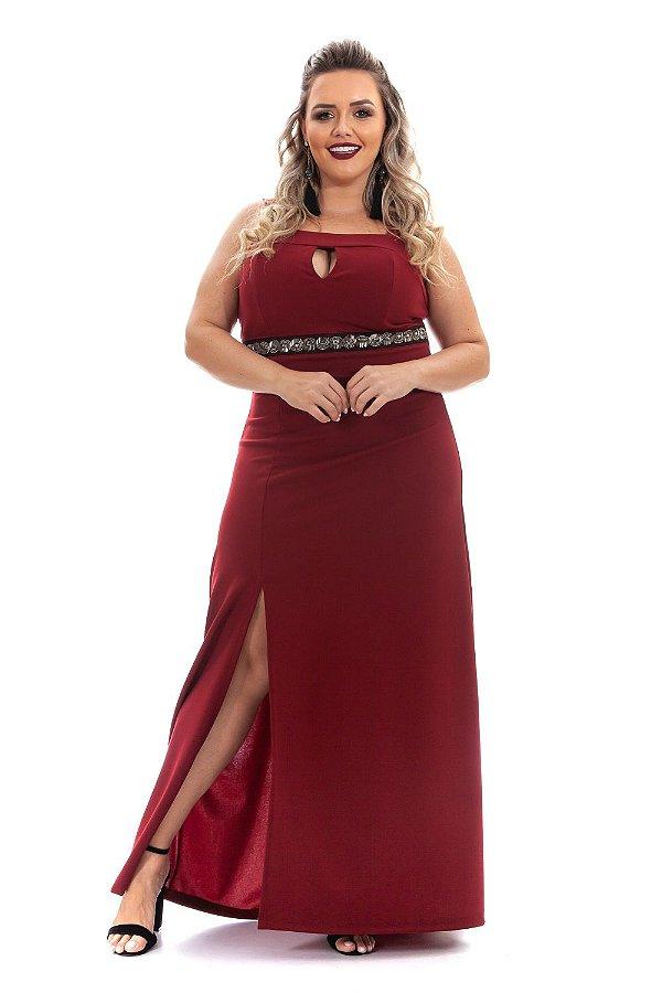 Vestido Longo de Festa Plus Size com Detalhe Bordado - 6283