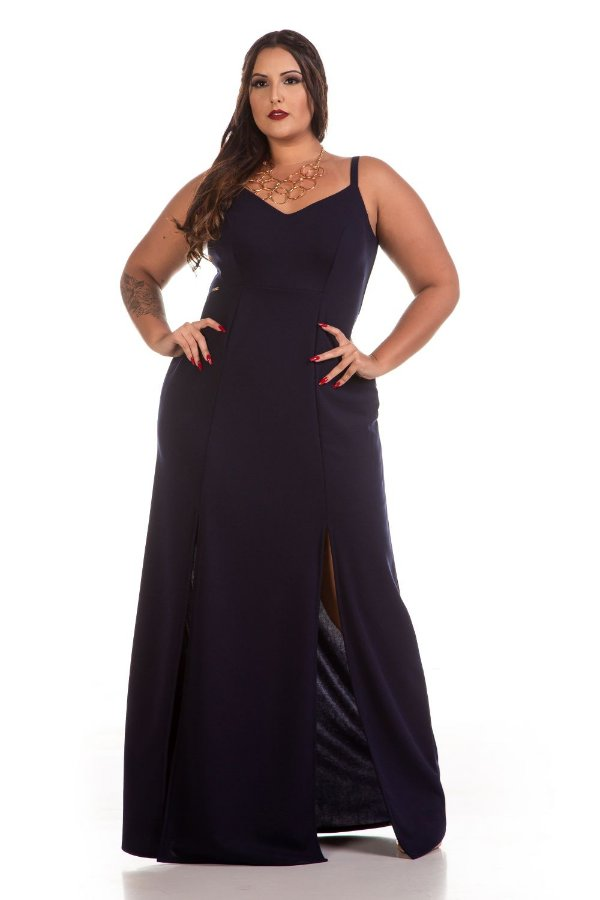 Vestido de Festa Curves e Plus Size de Jacard com Elastano e Alça 6336