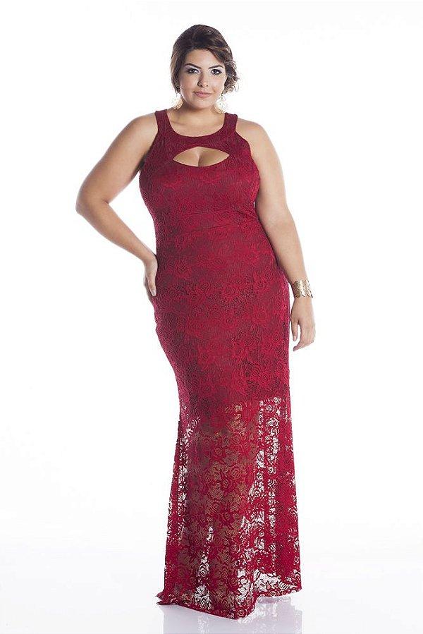 Vestido de Festa Plus Size Longo de Renda 5429