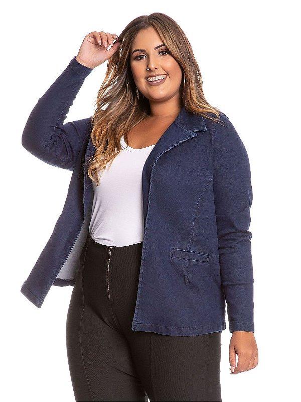 Casaco Blazer Plus Size Jeans Aberto com Bolso 6473