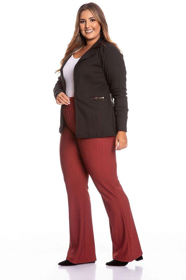 Casaco Blazer Plus Size de Bengaline com Ziper 6472