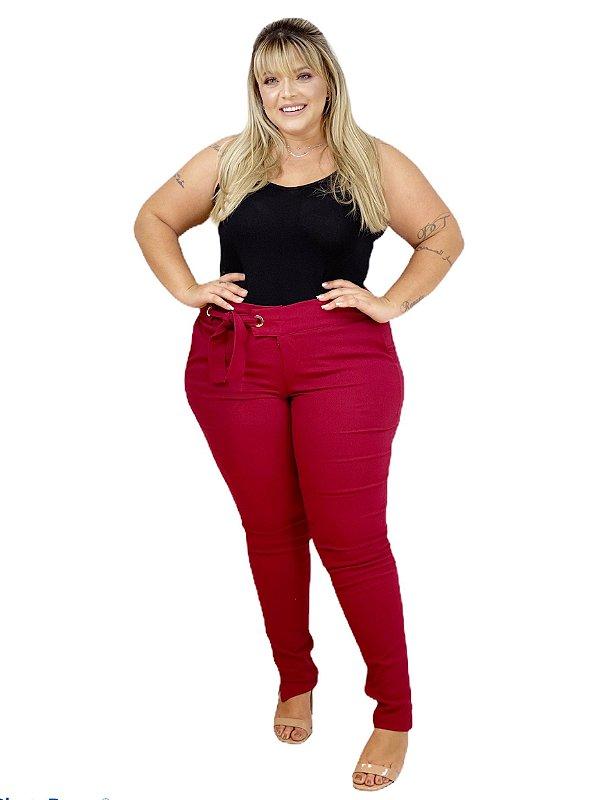 Calça Plus Size de Bengaline Lisa Skinny com Bolso