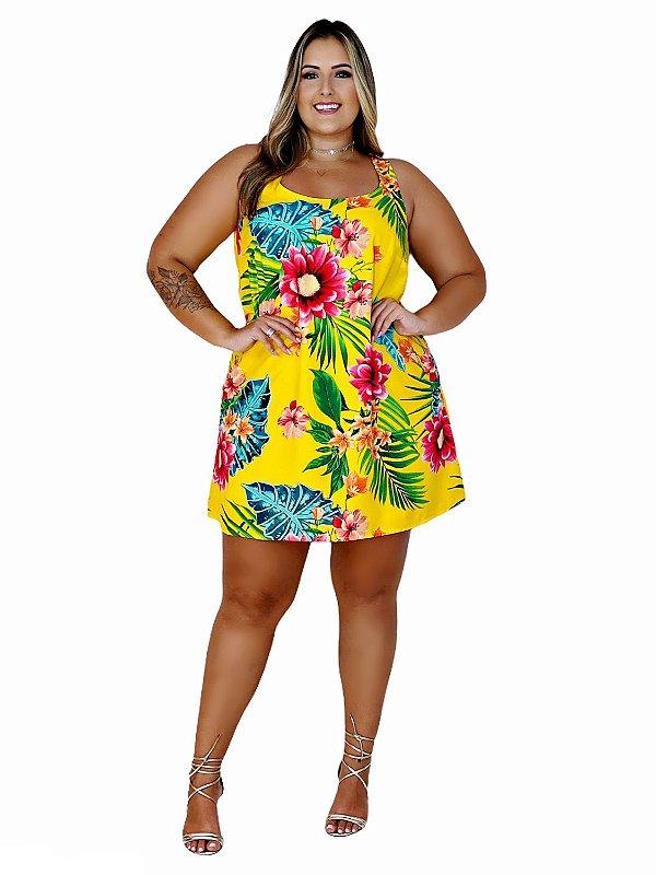 Vestido Plus Size de Viscose Estampada
