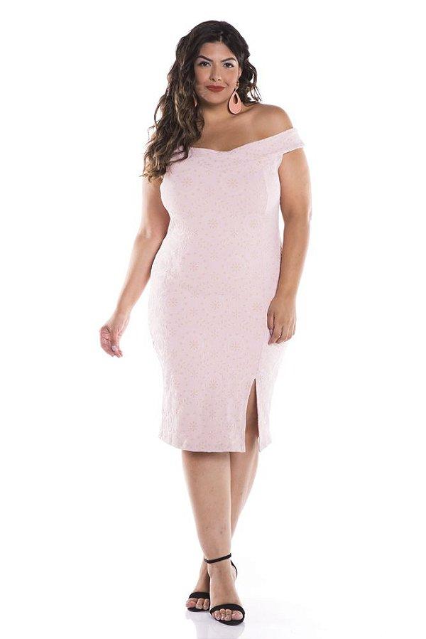 Vestido Plus Size Midi Ombro a Ombro com Fenda de Jacard com Elastano