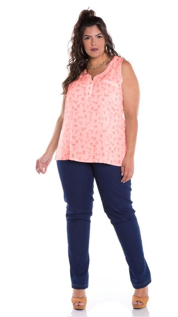 Blusa Regata Plus Size de Viscose Estampada com Botão 10003