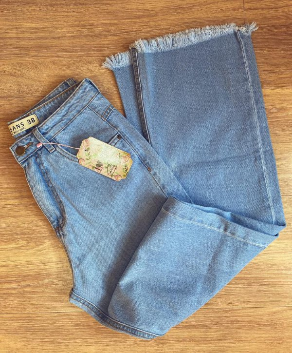 Calça jeans WIDE LEGS azul retrô