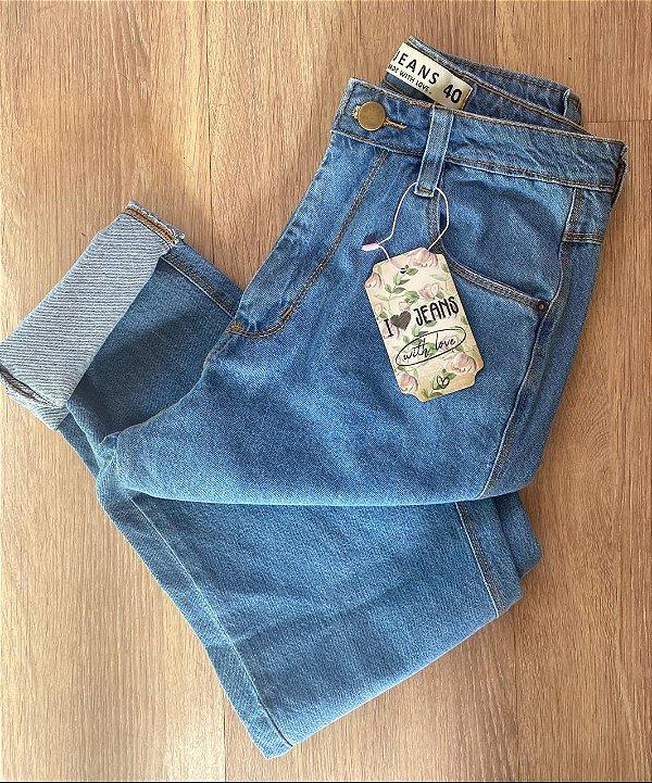 Calça Mom jeans azul atlantic