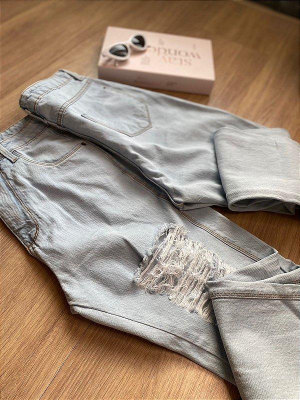 Calça jeans BOYFRIEND destroyer delavê