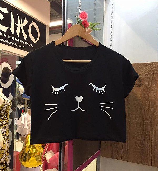 Cropped de manga  gatinho