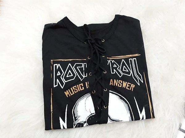 T-shirt cardaço rock roll music