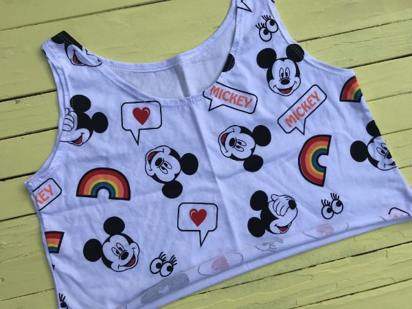 Cropped regata Mickey arco-iris
