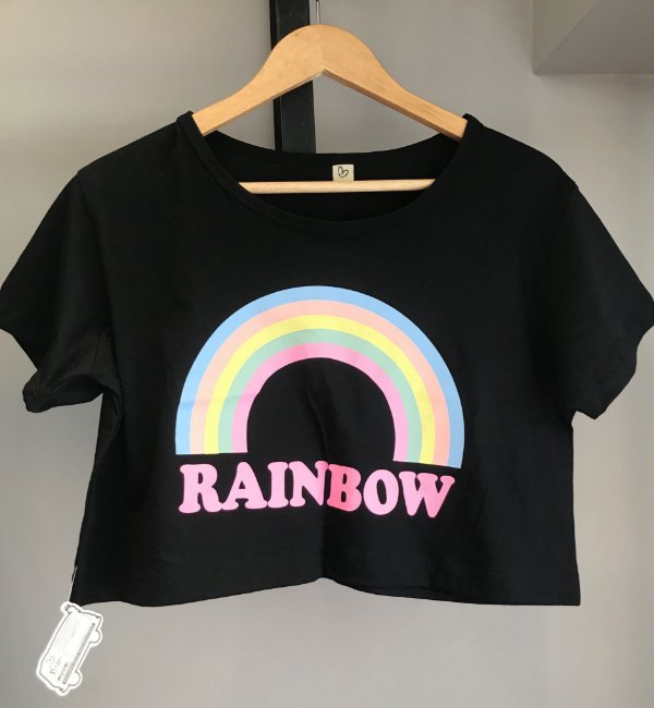 Cropped com manga RAINBOW