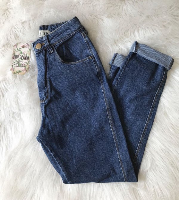 Calça mom jeans AZUL INTENSO
