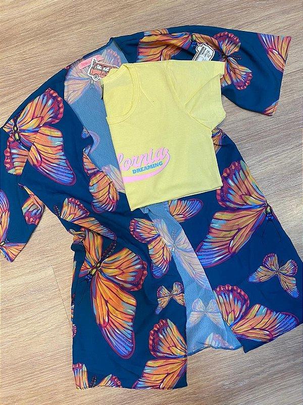 Kimono LOLLIPOP borboleta azul