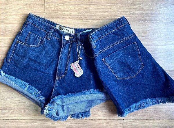 SHORT jeans MOM BARRA DESFIADA AZUL INTENSO