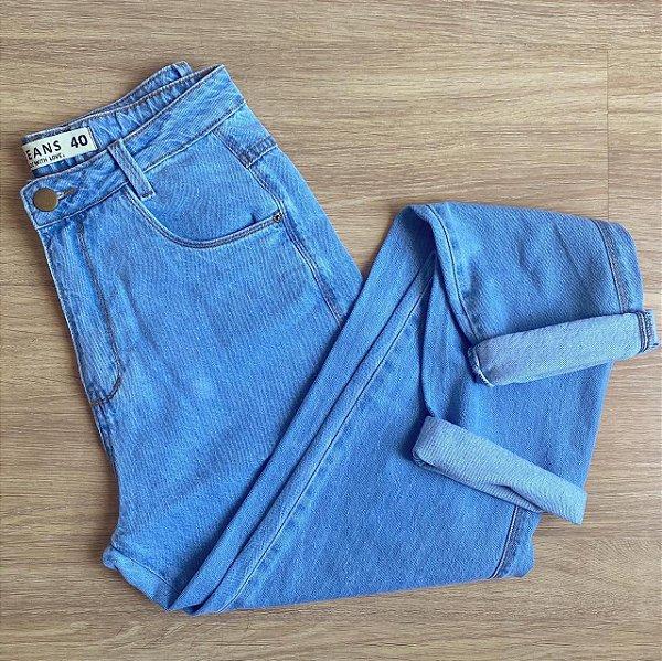 Calça mom azul medio retrô