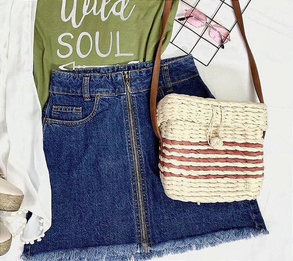 Saia jeans ziper azul intenso