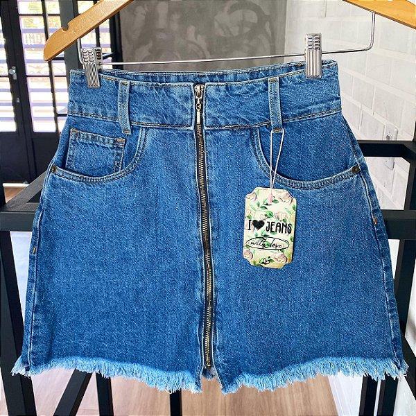 Saia jeans ziper azul RETRÔ
