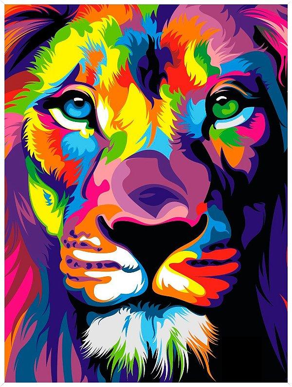 Leão moderno colorido