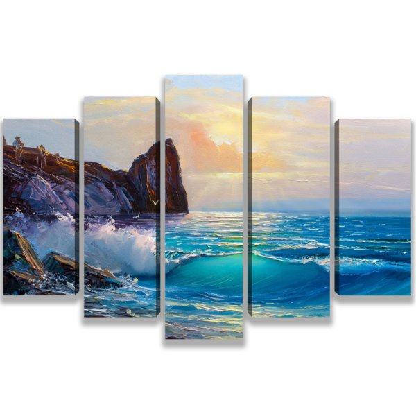 Beach - Quadro Mosaico 5 telas em Canvas