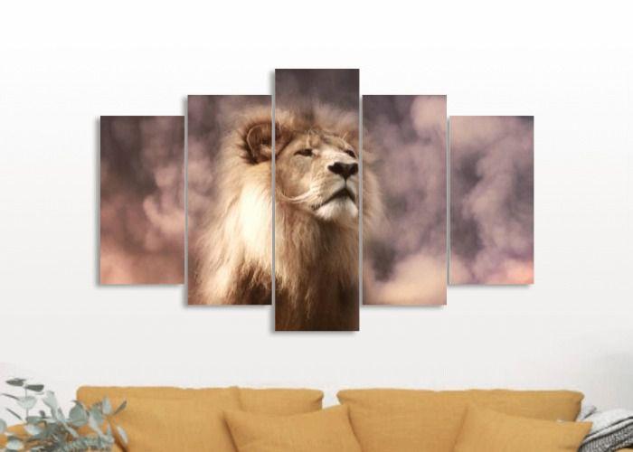 A grandeza do Leão - Quadro Mosaico 5 telas em Canvas