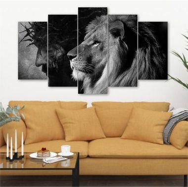 Jesus e Leão P&B - 5 Telas Canvas