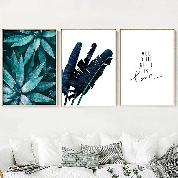 Letreiro Folhas  - 3 Quadros emoldurados