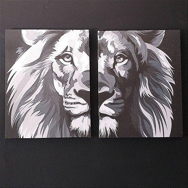 Leão p&b - 2 Telas Canvas