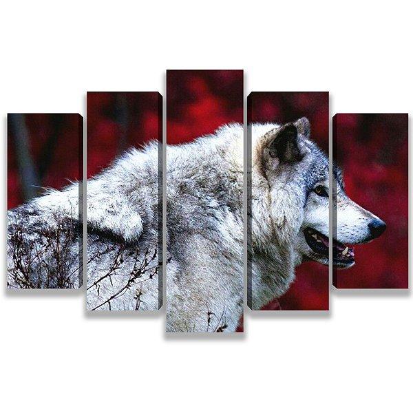 Lobo branco - Quadro Mosaico 5 Telas em Canvas